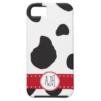 Monogram - Animal Print, Cow Spots - Black Red iPhone 5 Case