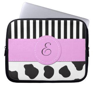 Monogram - Animal Print, Cow Spots - Black White Computer Sleeve