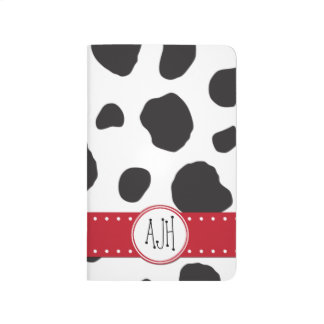 Monogram - Animal Print, Cow Spots - Black White Journal
