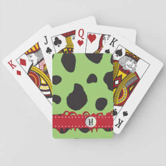 Monogram - Animal Print, Cow Spots - Green Black Playing Cards
