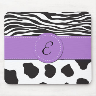 Monogram - Animal Print, Cow, Zebra - Black White Mouse Pad