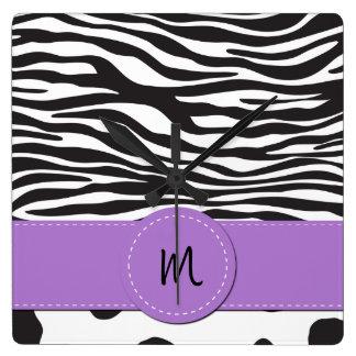 Monogram - Animal Print, Cow, Zebra - Black White Square Wall Clock