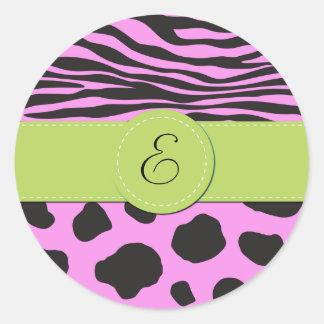 Monogram - Animal Print, Cow, Zebra - Pink Green Classic Round Sticker