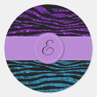 Monogram - Animal Print, Zebra, Glitter - Blue Classic Round Sticker