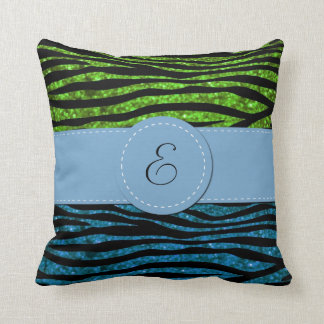 Monogram - Animal Print, Zebra, Glitter - Blue Throw Pillow