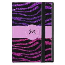 Monogram - Animal Print, Zebra, Glitter - Pink iPad Mini Case