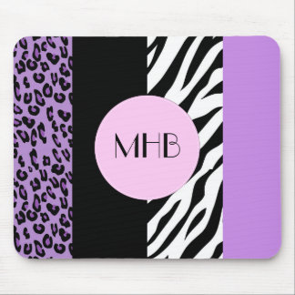Monogram - Animal Print, Zebra, Leopard - Purple Mouse Pad