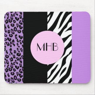 Monogram - Animal Print, Zebra, Leopard - Purple Mouse Pad