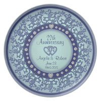 Monogram Anniversary with Hearts in Blue Melamine Plate