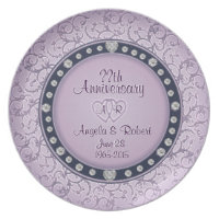 Monogram Anniversary with Hearts Plate
