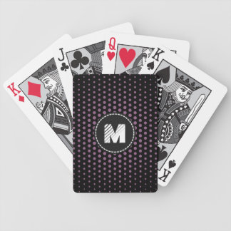Monogram Antique fuchsia Techno Dots Modern Bicycle Playing Cards