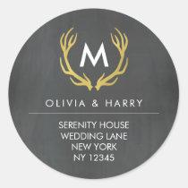 Monogram Antlers Wedding Return Address Stickers
