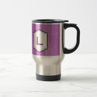 Monogram Any Initial ORCHID PURPLE Background V22 15 Oz Stainless Steel Travel Mug