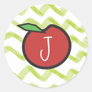 Monogram Apple Teacher Chevron Themed Stickers