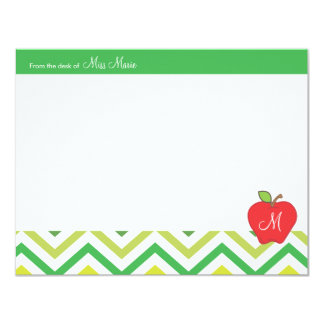 Monogram Apple Teachers Flat Note Card Announcement