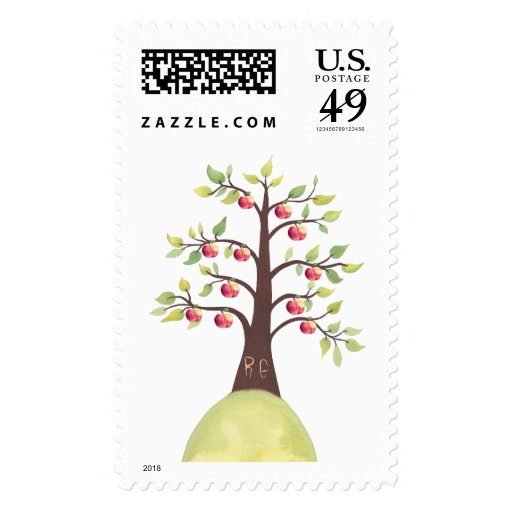 Monogram Apple Tree Wedding Postage Stamp