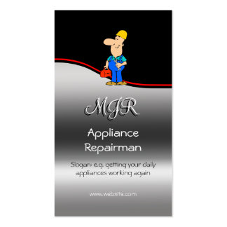 Monogram, Appliance Repairman, red swoosh Double-Sided Standard Business Cards (Pack Of 100)
