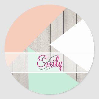 Monogram Apricot Teal Gray Wood Modern Color Block Classic Round Sticker