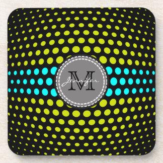 Monogram Aqua & Acid Green Polka Dots Pattern Beverage Coaster