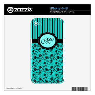 Monogram Aqua Black Floral Stripe iPhone 4/4s Skin iPhone 4S Decal
