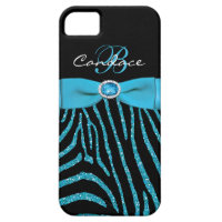 Monogram Aqua, Black Glitter Zebra iPhone 5 Case