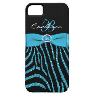Monogram Aqua, Black Glitter Zebra iPhone 5 Case