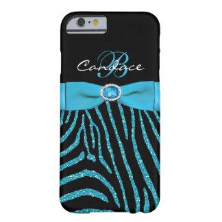 Monogram Aqua, Black Glitter Zebra iPhone 6 case