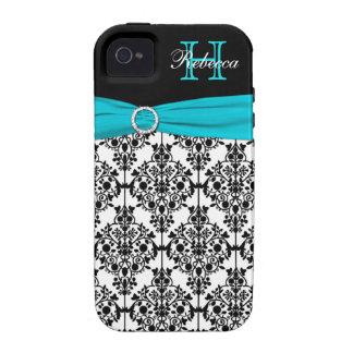 Monogram Aqua Black White Damask iPhone 4 Vibe Vibe iPhone 4 Cases
