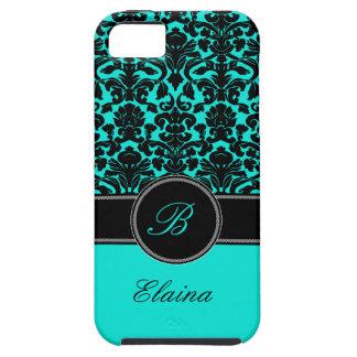 Monogram Aqua, Black, White Damask iPhone 5 Case