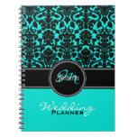 Monogram Aqua Black White Damask Wedding Planner Spiral Notebook