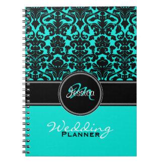 Monogram Aqua Black White Damask Wedding Planner Spiral Notebooks