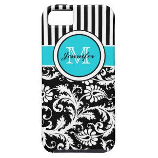 Monogram Aqua Black White Striped Damask iPhone 5 iPhone SE/5/5s Case