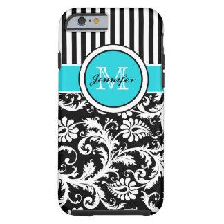 Monogram Aqua Black White Striped Damask iPhone 6 iPhone 6 Case