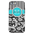 Monogram Aqua Black White Striped Damask iPhone 6  Tough iPhone 6 Case