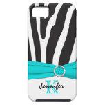 Monogram Aqua, Black, White Zebra Striped iPhone 5 iPhone 5 Cases