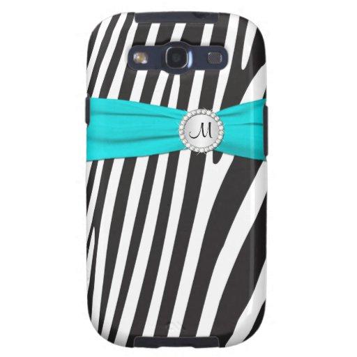 Monogram Aqua, Black, White Zebra Striped S3 Case Galaxy SIII Cover