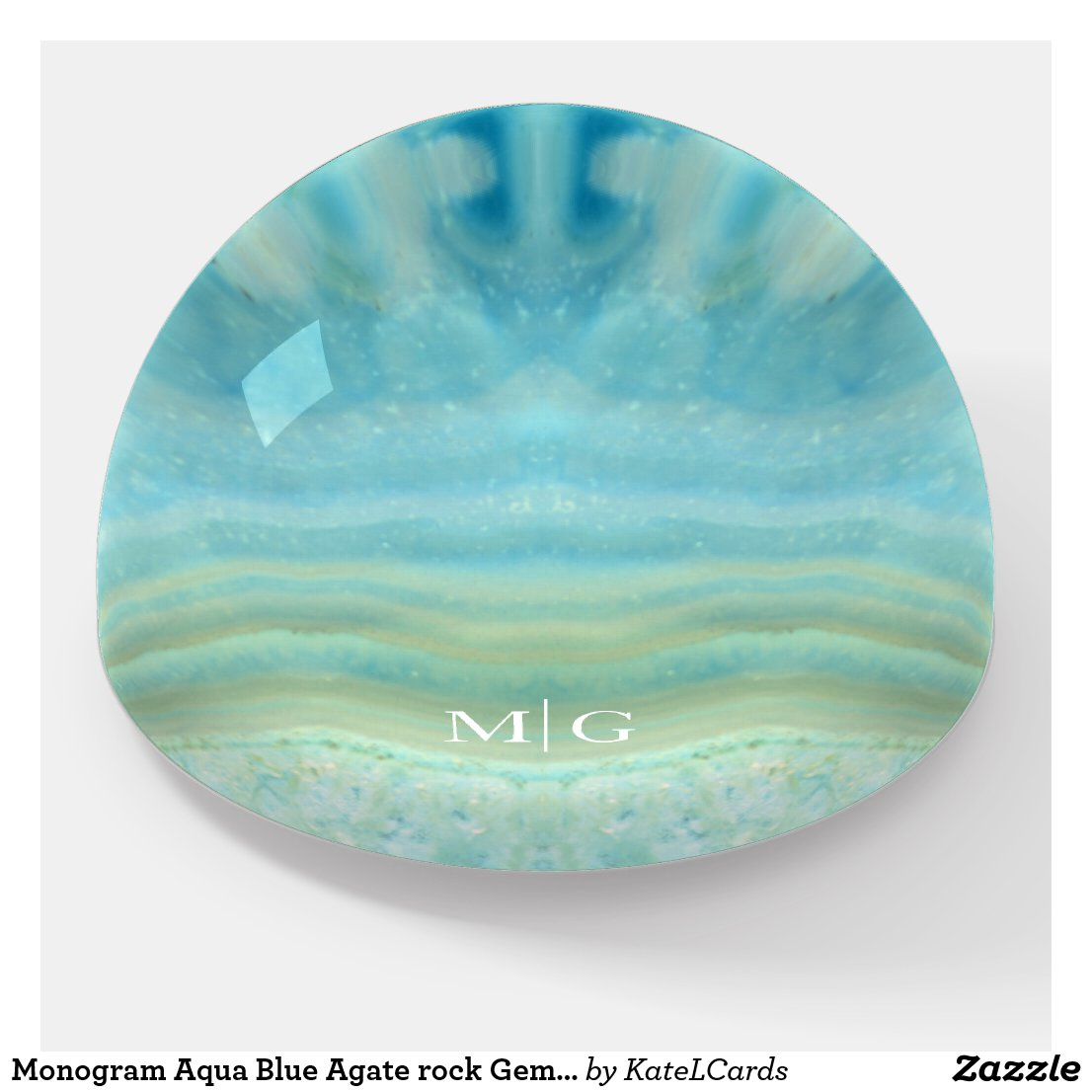 Monogram Aqua Blue Agate rock Gem Stone Pattern Paperweight