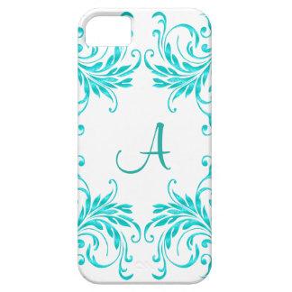 Monogram Aqua Blue Damask iPhone SE/5/5s Case