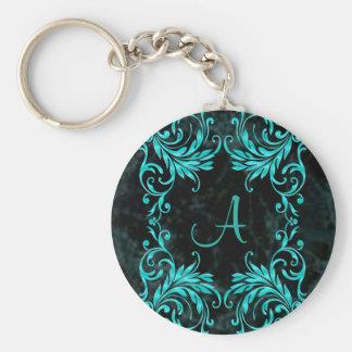 Monogram Aqua Blue Damask Keychain