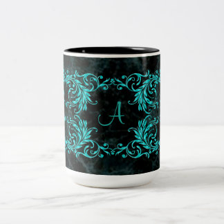 Monogram Aqua Blue Damask Two-Tone Coffee Mug