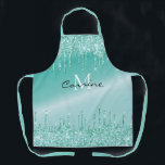 "Monogram Aqua Blue Dripping Teal Glitter Metallic Apron<br><div class=""desc"">Dripping faux Robins egg aqua blue metallic ombre turquoise glitter melting icing sparkles paint drip gradient holographic background new luxury all over print full bistro apron template to add your name, monogram, or whatever text you'd like. gorgeous, chic, beautiful, feminine, sophisticated and unique, the perfect gift for any glitter loving...</div>"