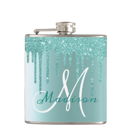 Monogram Aqua Blue Glitter Drips Girly Flask