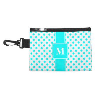 Monogram Aqua Blue on White Polka Dots Accessory Bag