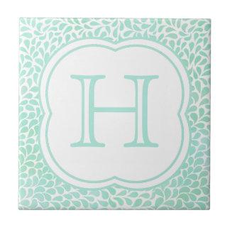 Monogram aqua blue watercolor drops ceramic tile