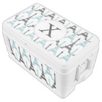 Monogram Aqua Chic Eiffel Tower Pattern Chest Cooler