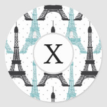 Monogram Aqua Chic Eiffel Tower Pattern Classic Round Sticker