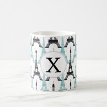 Monogram Aqua Chic Eiffel Tower Pattern Coffee Mug