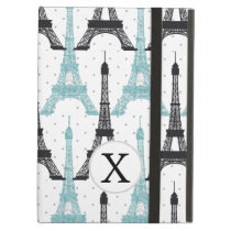 Monogram Aqua Chic Eiffel Tower Pattern Cover For iPad Air