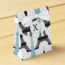 Monogram Aqua Chic Eiffel Tower Pattern Favor Box