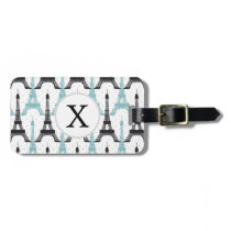 Monogram Aqua Chic Eiffel Tower Pattern Luggage Tag